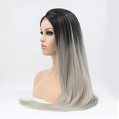 Syntetisk blonder foran parykker Rett Naturlig hårlinje Ombre-hår Svart Dame Blonde Forside Karneval Parykk Halloween parykk Naturlig