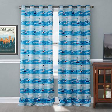 Barra no Interior Anéis Presilhas Duplo Plissado Um Painel Tratamento janela Designer , Desenho Animado Sala de Estar Poliéster Material