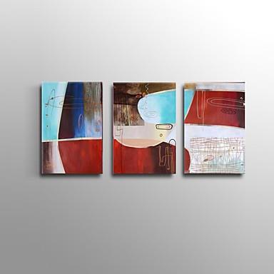Pintados à mão Abstracto / Vida Imóvel Pinturas a óleo,Modern / Estilo Europeu 3 Painéis Tela Hang-painted pintura a óleo For Decoração