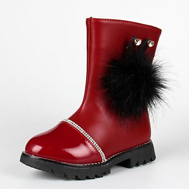 Para Meninas sapatos Couro Ecológico Inverno Outono Conforto Botas Caminhada para Casual Preto Vermelho Vinho