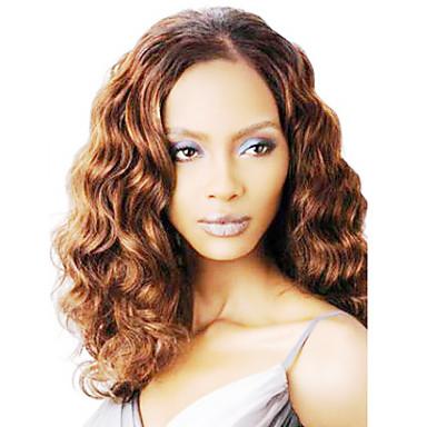 Synteettiset hiukset Peruukit Kihara Suojuksettomat Luonnollinen peruukki Ruskea