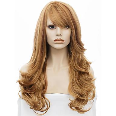 Synteettiset hiukset Peruukit Laineita Luonnollinen hiusviiva Suojuksettomat Luonnollinen peruukki Ruskea