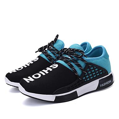 Herrn Schuhe Stoff Frühling Herbst Komfort Sportschuhe Walking Schnürsenkel für Normal Schwarz Rot Blau