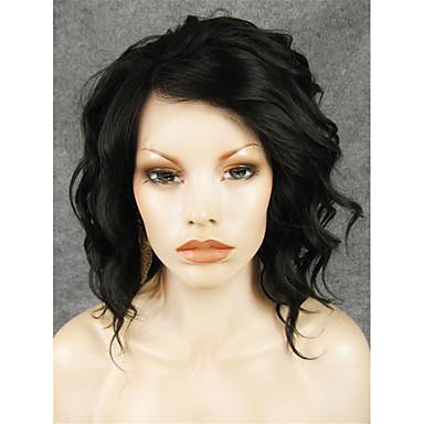 Syntetiske parykker Bølget Svart Syntetisk hår Svart Parykk Blonde Forside Svart