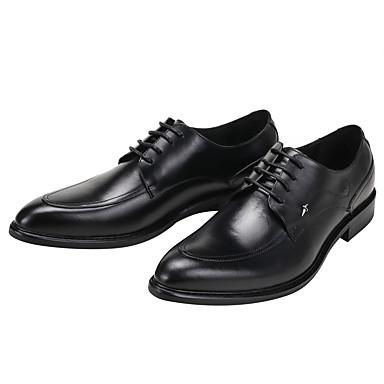 Masculino sapatos Couro Primavera Verão Outono Inverno Conforto Oxfords Cadarço Para Casamento Casual Festas & Noite Preto Vinho