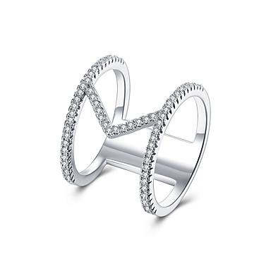 Dame Kubisk Zirkonium Zirkonium / Kubisk Zirkonium / Kobber Band Ring - Luksus / Mote / Europeisk Sølv / Rose Ringe Til Bryllup / Fest /