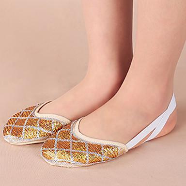 Mulheres Sapatilhas de Balé Algodão Sapatilha Espetáculo / Ensaio / Prática Sem Salto Prata / Dourado Não Personalizável
