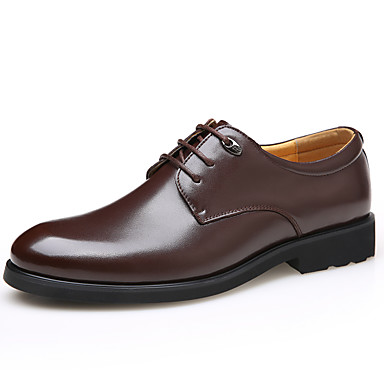 Hombre Zapatos Cuero Primavera / Verano / Otoño Confort Oxfords Tacón Cuadrado Con Cordón Negro / Marrón