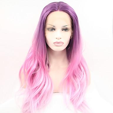 Syntetisk blonder foran parykker Naturlige bølger Midtskill Naturlig hårlinje Ombre-hår Lilla Dame Blonde Forside Karneval Parykk