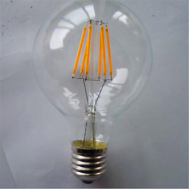 1pç 500-550lm E26 / E27 Lâmpadas de Filamento de LED G125 6 Contas LED COB Decorativa Branco Quente / Amarelo 220-240V / 1 pç / RoHs
