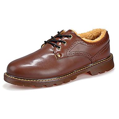 Oxford-kengät-Tasapohja-Miesten-Nahka-Musta Ruskea-Rento-Comfort