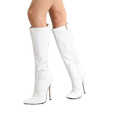 Evénement Bottes Bottes Chaussures Bout Aiguille amp; Talon Mode Femme pointu Fermeture Blanc 05630034 à Noir Polyuréthane Hiver la Soirée qTd1t