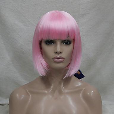 halpa Rooliasu peruukki-Synteettiset peruukit / Pilailuperuukit Suora Kardashian Tyyli Bob-leikkaus Suojuksettomat Peruukki Vaaleanpunainen Pinkki Synteettiset hiukset Naisten Vaaleanpunainen Peruukki Lyhyt / Keskikokoinen