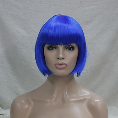 Naisten Synteettiset peruukit Suojuksettomat Suora Sininen Bob-leikkaus Cosplay-peruukki puku Peruukit