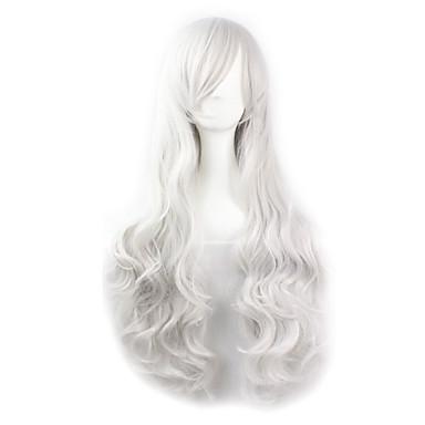 Syntetiske parykker / Kostymeparykker Dame Bølget Hvit Syntetisk hår Hvit Parykk Hvit