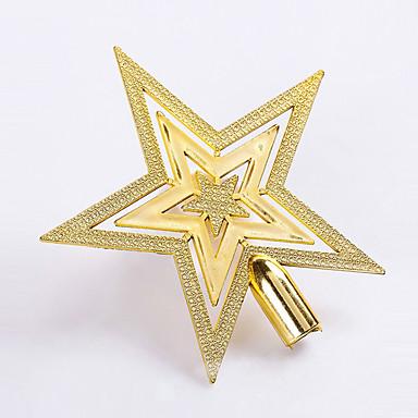 20センチメートルオプションのクリスマスツリーのトップスターの飾りがホームクリスマスデコレーション用のプラスチック製の五芒星をメッキの1pcs