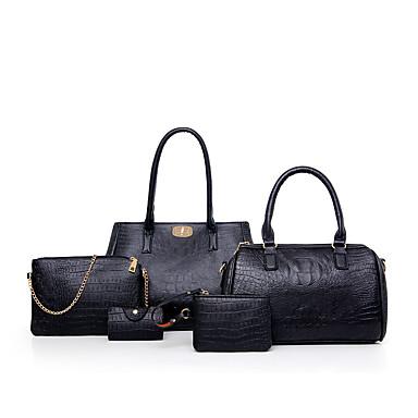 Mulheres Bolsas PU Conjuntos de saco 5 Pcs Purse Set Vermelho / Azul / Dourado / Conjuntos de sacolas