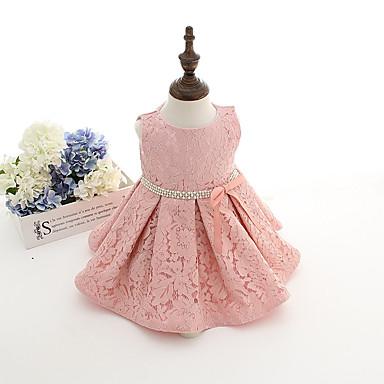 Bebé Vestido Chica de Fiesta Un Color Algodón Sin Mangas Verano Rosa