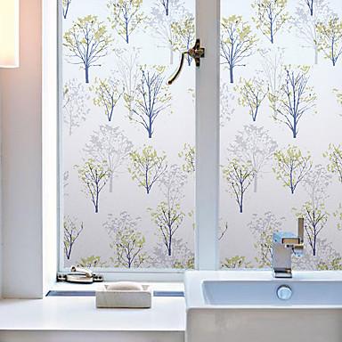 Bloemen Hedendaagse Raamfolie, PVC/Vinyl Materiaal raamdecoratie Eetkamer Slaapkamer Kantoor Kinderkamer Woonkamer Bad Kamer / Café Keuken