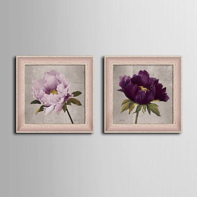 E-HOME® Framed Canvas Art, Flowers Framed Canvas Print Set of  2