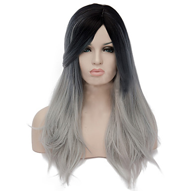 Pelucas sintéticas Recto Corte asimétrico Pelo sintético Entradas Naturales Negro / Gris Peluca Mujer Larga Sin Tapa
