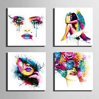 Pessoas Modern, 4 Painéis Tela de pintura Quadrada Estampado Decoração de Parede Decoração para casa