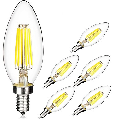 6pcs 5W 560lm E14 LED-glødepærer C35 6 LED perler COB Varm hvit Kjølig hvit 220-240V