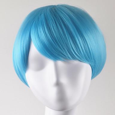 Perucas sintéticas Mulheres Liso Azul Corte Bob Cabelo Sintético Azul Peruca Curto Sem Touca Azul