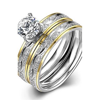 女性用 婚約指輪 指輪 ファッション 欧風 ステンレス鋼 ジルコン ゴールドメッキ コスチュームジュエリー 結婚式 パーティー 日常 カジュアル スポーツ