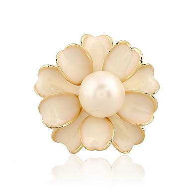 korean nainen metalliseos valkoinen kukka Camellia helmi rintakoru