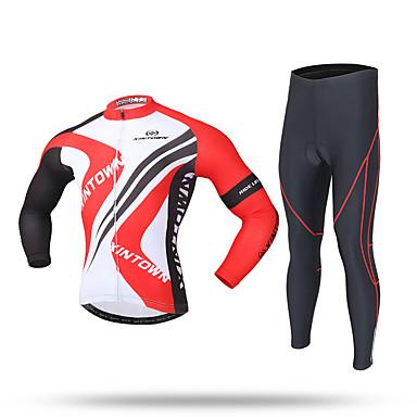 XINTOWN タイツ付きサイクリングジャージー 男性用 長袖 バイク パンツ トラックスーツ ジップトップ フリースジャケット / フリース ジャージー トップス 保温 防風 透湿性 フロントファスナー ソフト 3Dパッド 反射性ストリップ 後ポケット 防滑り