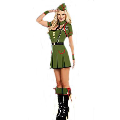 Cosplay Kostumer Party-kostyme Soldat/Kriger karriere Kostymer Film-Cosplay Kjole Ermer Belte Hatt Halloween Karneval Kvinnelig