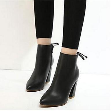 Naiset Kengät PU Comfort Bootsit Käyttötarkoitus Kausaliteetti Musta