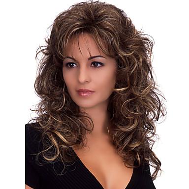 Syntetiske parykker Dame Krop Bølge Mørkebrun Med lugg Syntetisk hår Varme resistent / fluffy Mørkebrun Parykk Medium Lengde Lokkløs Mørkebrun