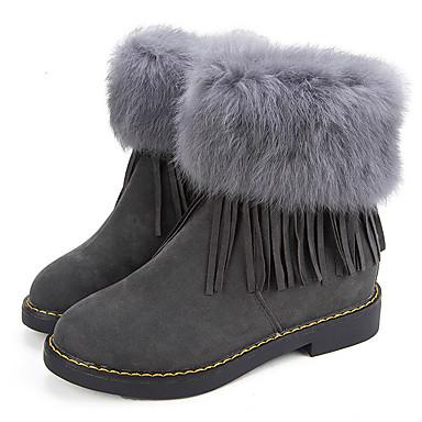 Dame Sko Semsket lær Vinter Komfort Trendy støvler Støvler Flat hæl Rund Tå Dusk til Avslappet Formell Svart Grå Lysebrun