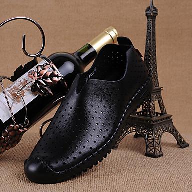 Miesten kengät Nahka Kesä Comfort Mokkasiinit varten Kausaliteetti Musta Tumman ruskea