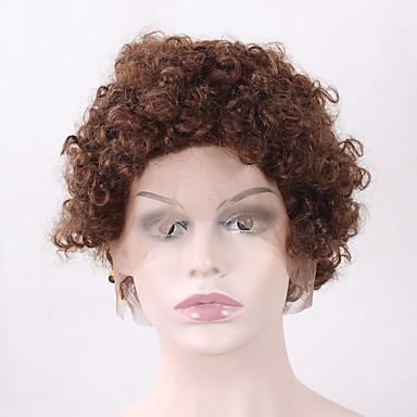 přírodní paruky syntetický Se síťovanou přední částí paruky Krátký Střední Kaštanově hnědá Béžová Medium Auburn Vlasy