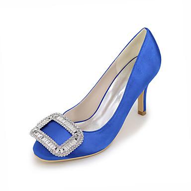Bleu Ivoire Escarpin Printemps Strass carré Chaussures Basique Satin Champagne Talon Femme Aiguille de Chaussures 06177678 Bout Eté mariage a6HwI1x