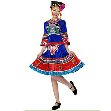 パーティーコスチューム コスプレ イベント/ホリデー ハロウィーンコスチューム ブルー フラワー 上着 / スカート / 多くのアクセサリー / 帽子 女性用