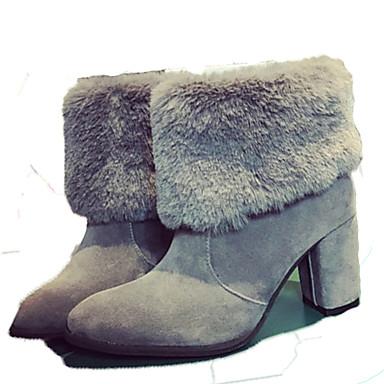 Dame-Semsket lær-Tykk hæl-Komfort-Støvler-Friluft Formell Fritid-Svart Grå