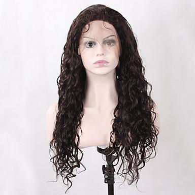 人毛 フロントレース かつら ナチュラルウェーブ 130% 密度 100%手作業縫い付け ブラックアメリカン風ウィッグ ナチュラルヘアライン ミディアム 女性用 人毛レースウィッグ