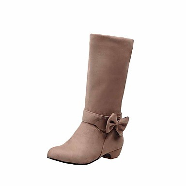 Dame-Semsket lær-Tykk hæl-Komfort-Støvler-Kontor og arbeid Formell Fritid-Blå Rød Mandel