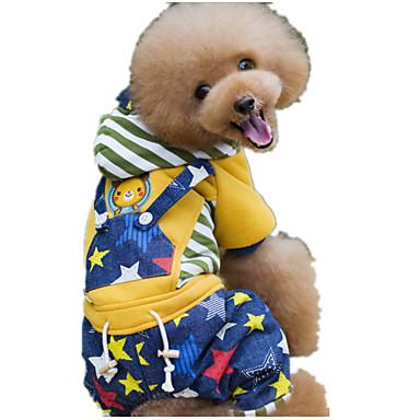 犬 ジャンプスーツ 犬用ウェア キュート カジュアル/普段着 保温 Stars イエロー ピンク