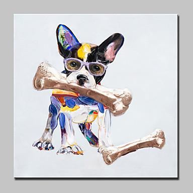 Maalattu Eläin / Pop öljymaalauksia,Moderni 1 paneeli Kanvas Hang-Painted öljymaalaus For Kodinsisustus