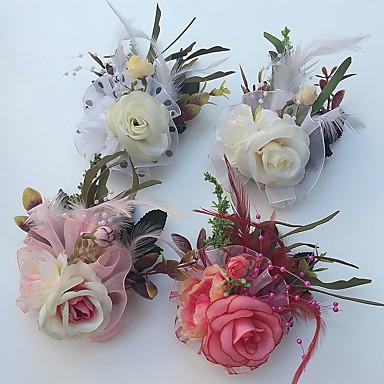 Bryllupsblomster Roser Boutonnieres Bryllup Fest & Aften Sateng Tyll Lær