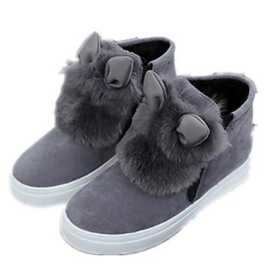 Dame Sko Lakklær Vinter Komfort / Trendy støvler Støvler Flat hæl Rund Tå Svart / Grå / Gul