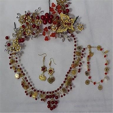 ジュエリー 1×ネックレス / 1×イヤリング(ペア) / 1×ブレスレット / 1×ヘアアクセサリー クリスタル / 人造真珠 / ラインストーン 結婚式 / パーティー 1セット 女性 レッド ウェディングギフト