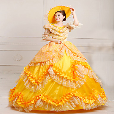Medieval Victorian Costume Women's Dress Masquerade Party Costume Yellow Vintage Cosplay Lace Satin FRP Terylene Long Sleeves Long Length