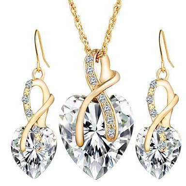 Naisten Korusetti Pisarakorvakorut Riipus-kaulakorut Kristalli Synteettinen timantti Kristalli Heart Love Morsius Tyylikäs Eurooppalainen