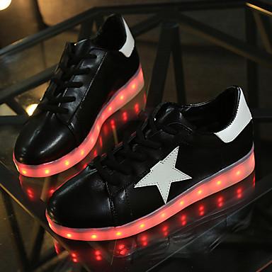 ユニセックス-アウトドア カジュアル アスレチック-PUレザー-フラットヒール-コンフォートシューズ 幼児用靴 アンクルストラップ 靴を点灯-スニーカー-ブラック ホワイト